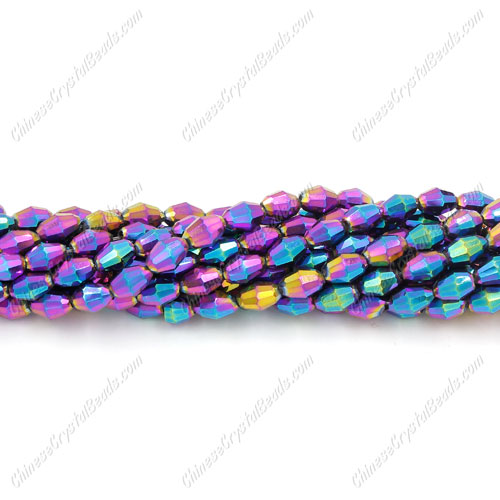 Chinese Barrel Shaped crystal beads,Rainbow, 4X6MM, about 72 Beads