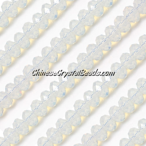 Chinese white opal crystal rondelle bead strand, 8x10mm , 25 beads