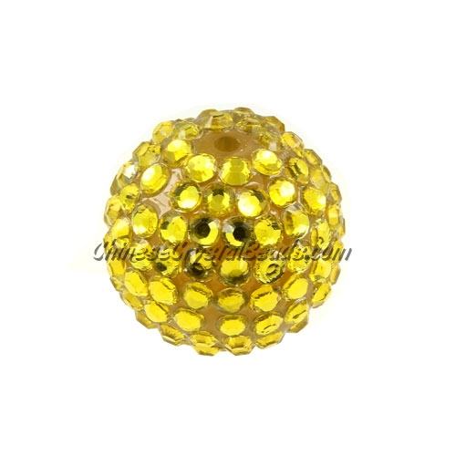 Chinese Acrylic Crystal Disco Bead, Crystal gold, 20mm(inside)x22mm(outside ) 6 beads