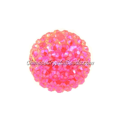 Chinese Acrylic Crystal Disco Bead, Crystal Fuchsia, 20mm(inside)x22mm(outside ) 6 beads