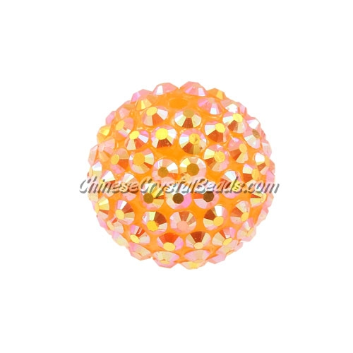 Chinese Acrylic Crystal Disco Bead, Crystal Amber, 20mm(inside)x22mm(outside ) 6 beads