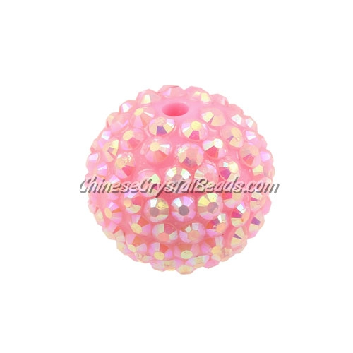 Chinese Acrylic Crystal Disco Bead, Crystal pink, 20mm(inside)x22mm(outside ) 6 beads