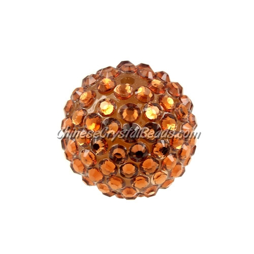 Chinese Acrylic Crystal Disco Bead, Crystal Brown, 20mm(inside)x22mm(outside ) 6 beads