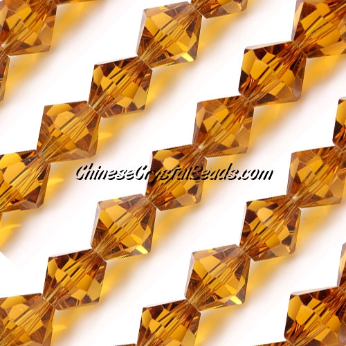Chinese Crystal Bicone bead strand, 10mm, Amber, 20 beads