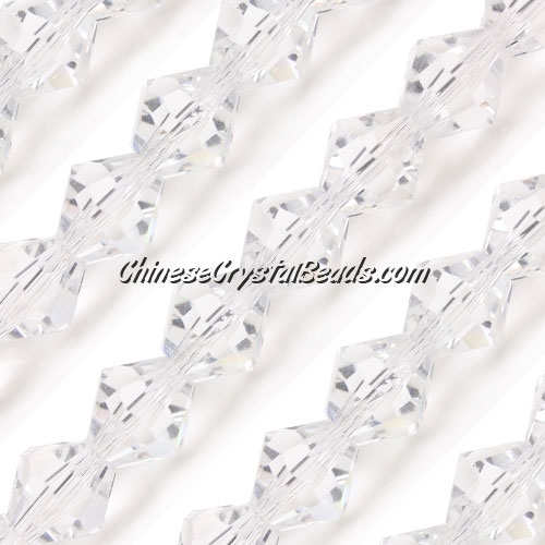Chinese Crystal Bicone bead strand, 10mm, Clear, 20 beads
