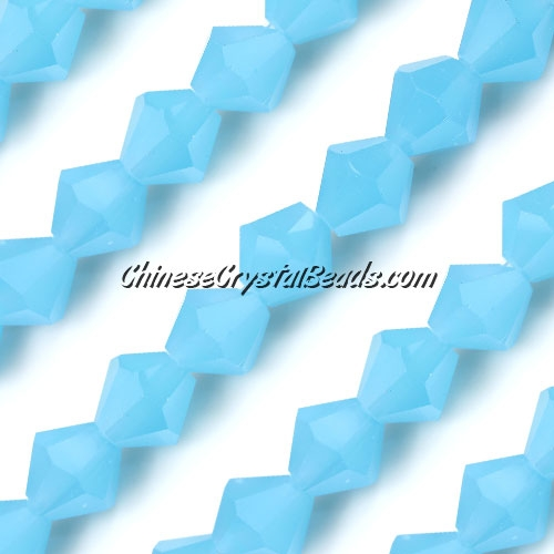 Chinese Crystal Bicone bead strand, 10mm, Opaque Aqua, 20 beads