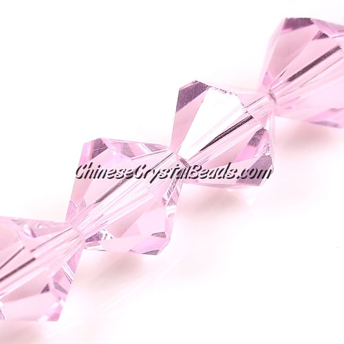 Chinese Crystal Bicone bead strand, 10mm, Pink, 20 beads