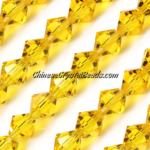 Chinese Crystal Bicone bead strand, 10mm, golden, 20 beads