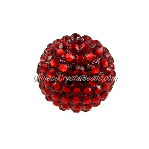 Chinese Acrylic Crystal Disco Bead, Crystal Siam, 20mm(inside)x22mm(outside ) 6 beads