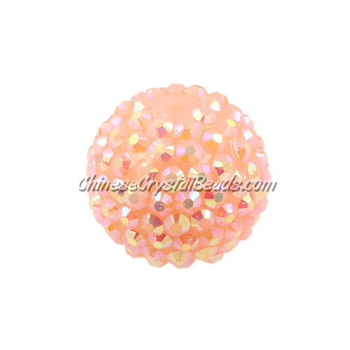 Chinese Acrylic Crystal Disco Bead, Le Peach, 20mm(inside)x22mm(outside ) 6 beads