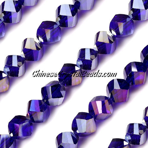 Chinese Crystal 10mm Helix Bead Strand, Sapphire AB , 20 beads
