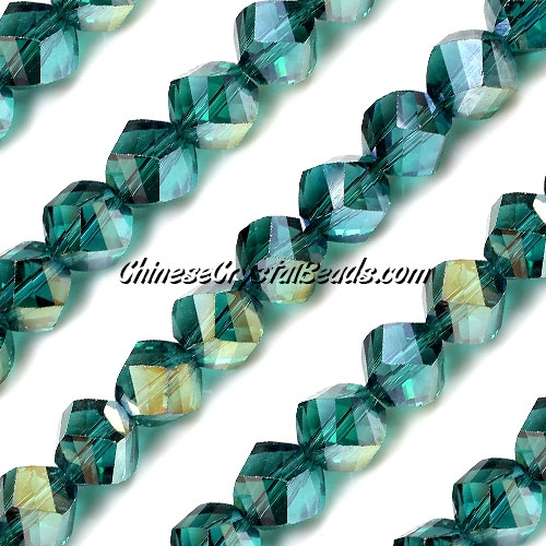 Chinese Crystal 10mm Helix Bead Strand, EmeraldAB , 20 beads