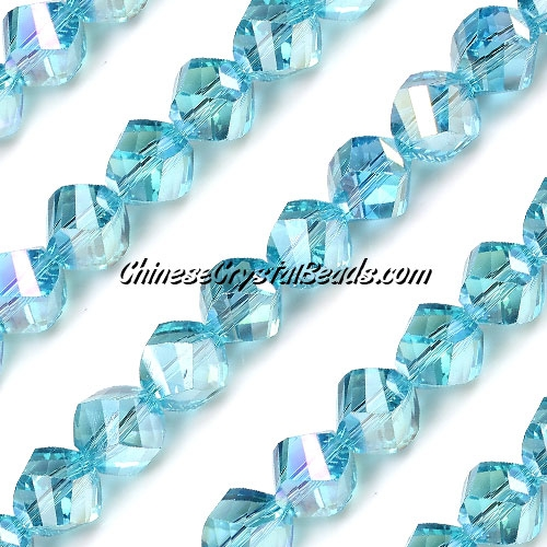 Chinese Crystal 10mm Helix Bead Strand, Aqua AB , 20 beads