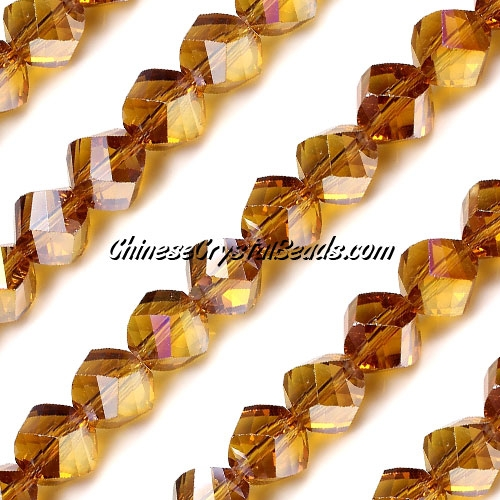 Chinese Crystal 10mm Helix Bead Strand, Topaz AB, 20 beads