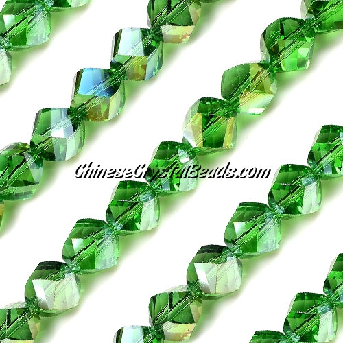 Chinese Crystal 10mm Helix Long Bead Strand, Fern green AB, 20 beads