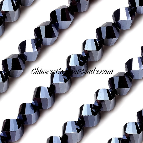 Chinese Crystal 10mm Helix Bead Strand, gun metal , 20 beads