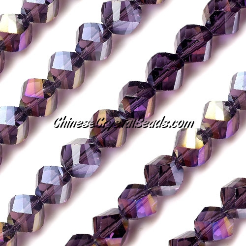 Chinese Crystal 10mm Helix Bead Strand, Violet AB , 20 beads