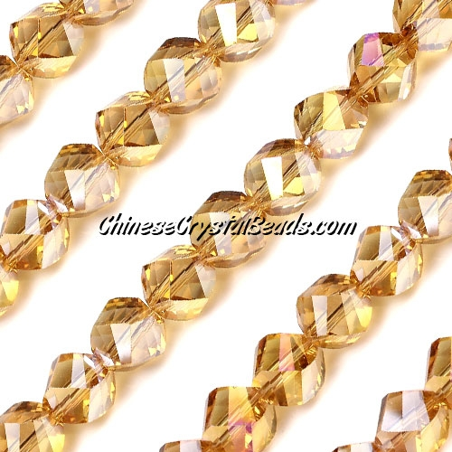 Chinese Crystal 10mm Helix Bead Strand, G.Champagne AB , 20 beads