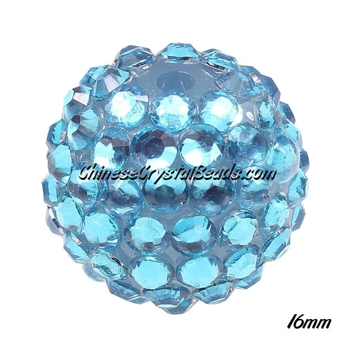 Crystal Disco Ball Acrylic Rhinestone Aqua 16x18mm, 12 beads