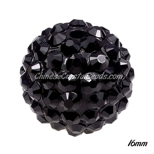 Crystal Disco Ball Acrylic Rhinestone Black(Jet) 16mmx18mm, 12 beads