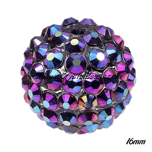 Crystal Disco Ball Acrylic Rhinestone blue/plum 16x18mm, 12 beads