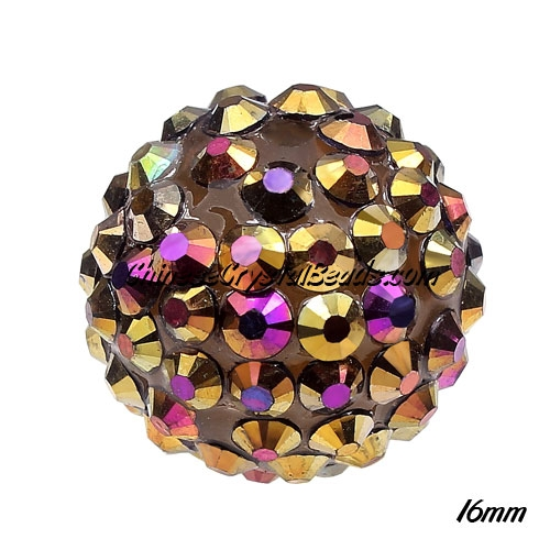 Crystal Disco Ball Acrylic Rhinestone Brown Rainbow 16x18mm, 12 beads