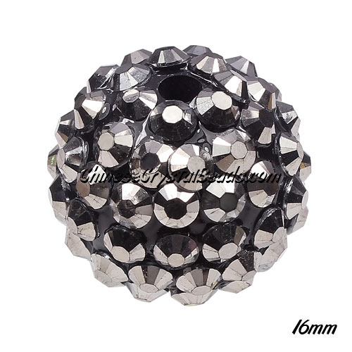 Crystal Disco Ball Acrylic Rhinestone Dark Silver 16x18mm, 12 beads