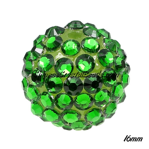 Crystal Disco Ball Acrylic Rhinestone Green 16x18mm, 12 beads