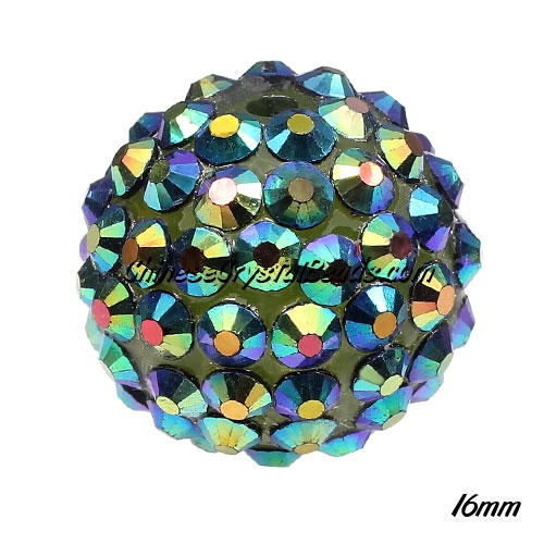 Crystal Disco Ball Acrylic Rhinestone Green Rainbow 16x18mm, 12 beads