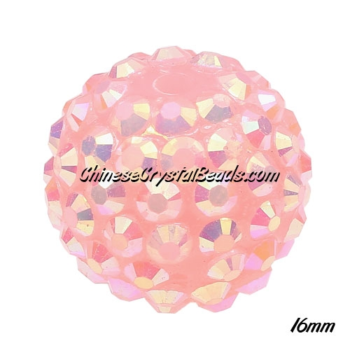 Crystal Disco Ball Acrylic Rhinestone Le peach 16x18mm, 12 beads