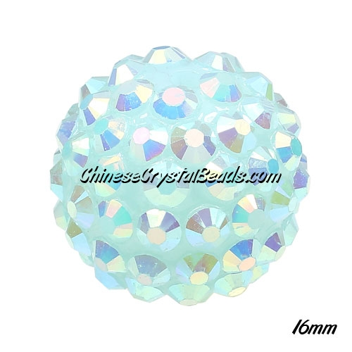 Crystal Disco Ball Acrylic Rhinestone Lt. Aqua AB 16x18mm, 12 beads