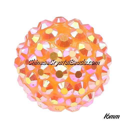Crystal Disco Ball Acrylic Rhinestone Orange AB 16x18mm, 12 beads