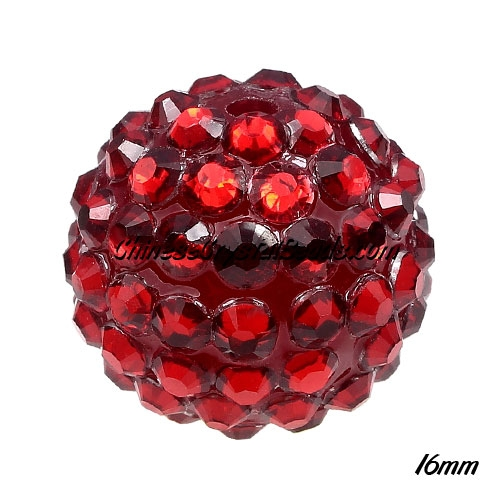 Crystal Disco Ball Acrylic Rhinestone Red 16x18mm, 12 beads