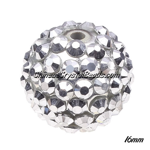 Crystal Disco Ball Acrylic Rhinestone Silver 16x18mm, 12 beads