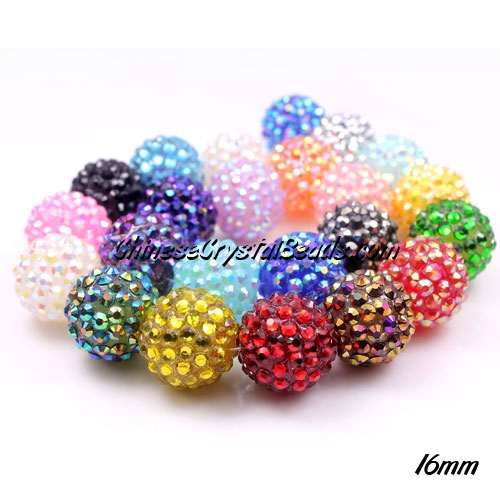 Crystal Disco Ball Acrylic Rhinestone Mix color 16x18mm, 12 beads