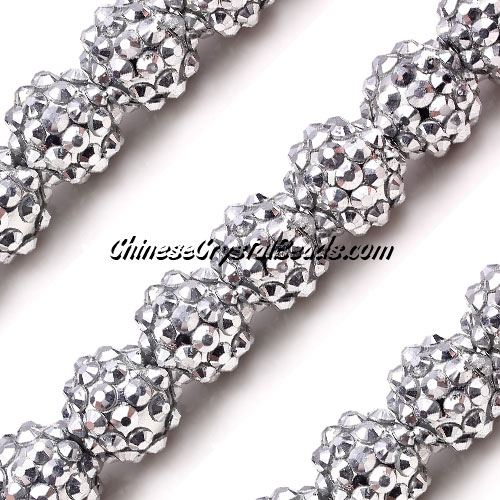 Crystal Disco Ball Acrylic Rhinestone Silver 12x14mm, 20 beads