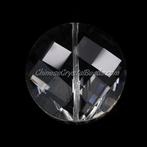 Chinese Crystal Faceted Coin Pendant, Clear, 30mm