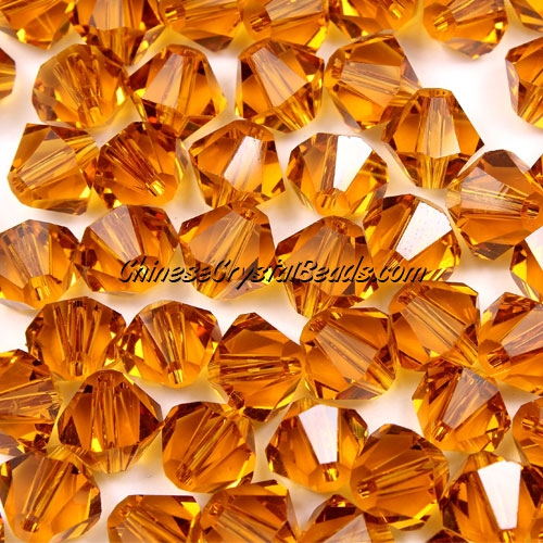 Chinese Crystal 8mm Bicone Beads, amber, #406, AAA quality, 10 beads