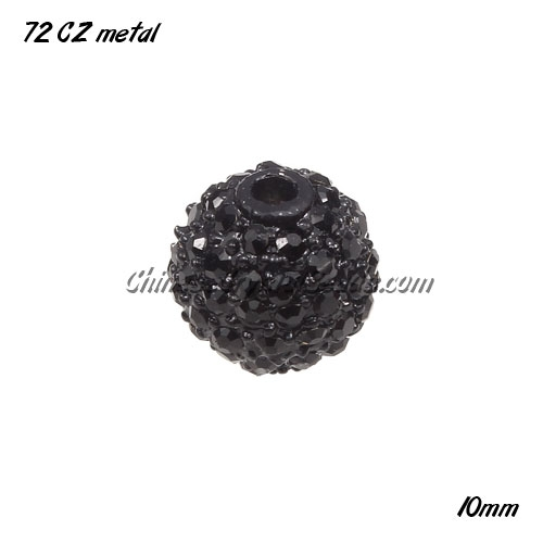 100pcs Alloy ball 72 Crystal Rhinestone disco beads Pave, Black, 10mm
