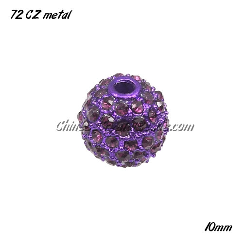 Alloy ball 72 Crystal Rhinestone disco beads Pave , Purple, 10mm, 10 pcs