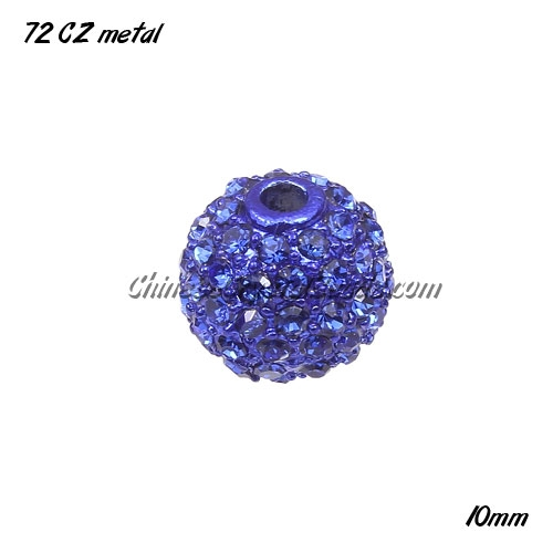 Alloy ball 72 Crystal Rhinestone disco beads Pave, Sapphire, 10mm, 10 pcs