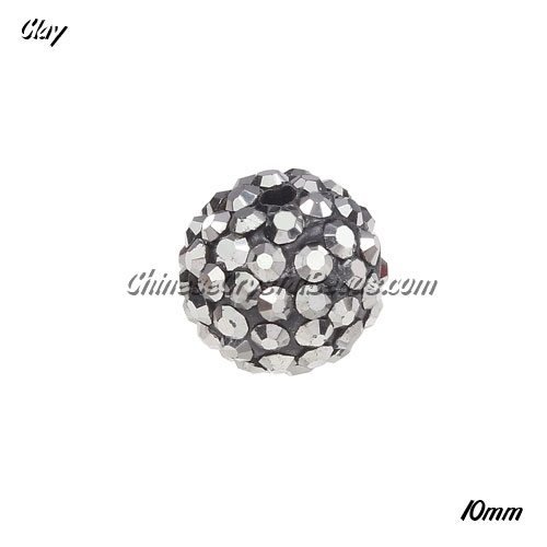 50pcs, 10mm Pave clay disco beads, hole: 1.5mm, silver