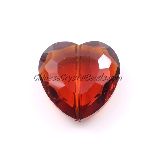 Crystal Faceted Heart Focal Bead, Smokey Topaz, 22mm, 6 pcs