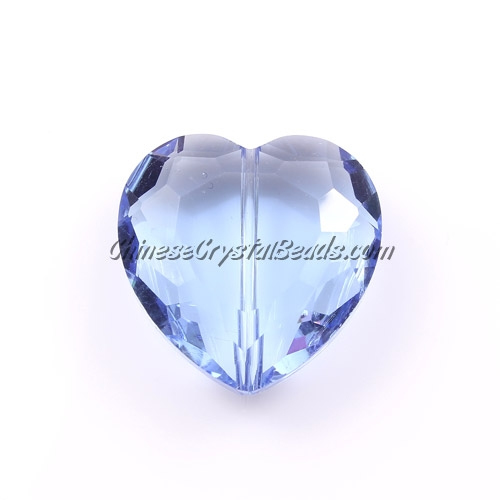 Chinese Crystal 22mm Heart Pendant/Bead, Lt. Sapphire, 6pcs
