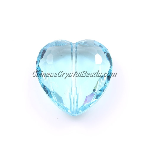Chinese Crystal 22mm Heart Pendant/Bead, Aqua, 6 pcs