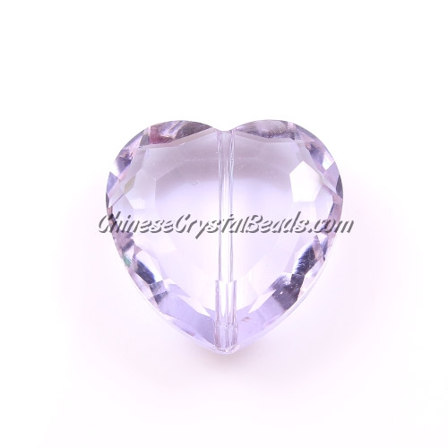 Chinese Crystal 22mm Heart Bead/Pendant, Lt. Violet, 6 pcs