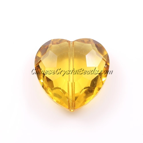 Chinese Crystal 22mm Heart Pendant/Bead, Sun, 6 pcs