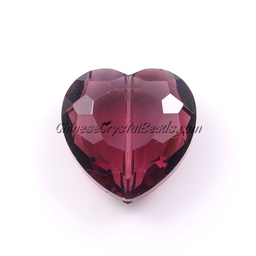Chinese Crystal 22mm Heart Pendant/Bead, Amethyst, 6 pcs