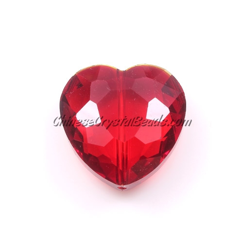 Chinese Crystal 22mm Heart Pendant/Bead, Siam, 6 pcs