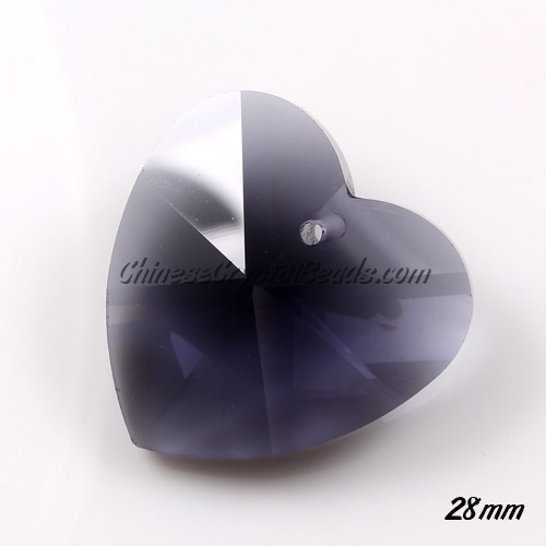 Chinese Crystal 28mm Heart Pendant/Bead, Transparent black